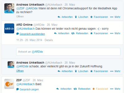 Twitteranfrage Mediathek