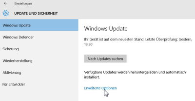 Windows Update - Erweiterte Optionen