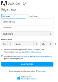 Adobe-ID Registrieren