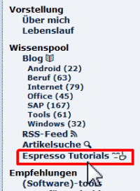 Espresso Tutorials Men�punkt