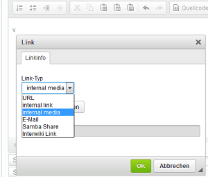 CKEdit Link einfügen internal media