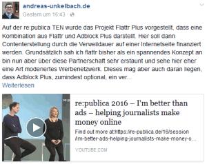 Mein Beitrag auf Facebook