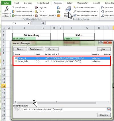 Namensmanager mit EXCEL4-Makrofunktion zur Bestimmung der Farbwerte der Hintergrundfarbe