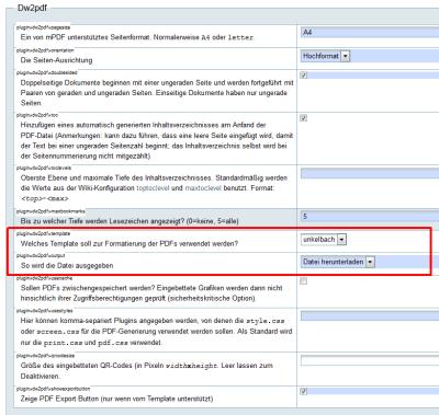Plugin dw2pdf template - Welches Template soll zur Formatierung der PDFs verwendet werden?