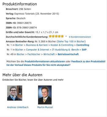 Bestseller Amazon Controlling und SAP