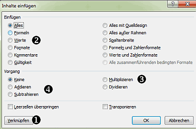 Werte bearbeiten per Copy and Paste