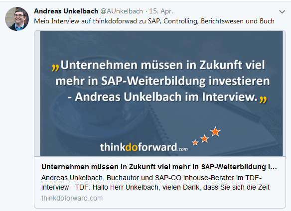 Twitter Hinweis Interview auf Thinkdoforward