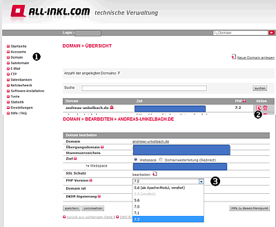 All-inkl.com PHP Version umstellen