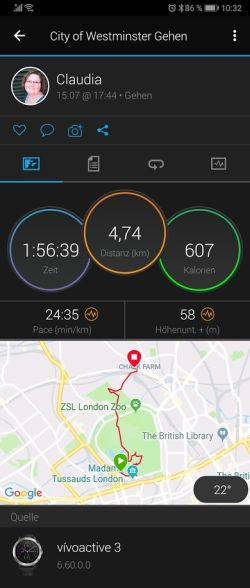 Karte Streckenverlauf  London City of Westminster - Tracking