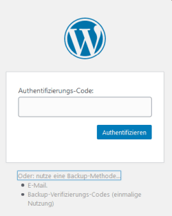 2FA - Authentifizierungscode f�r Wordpress