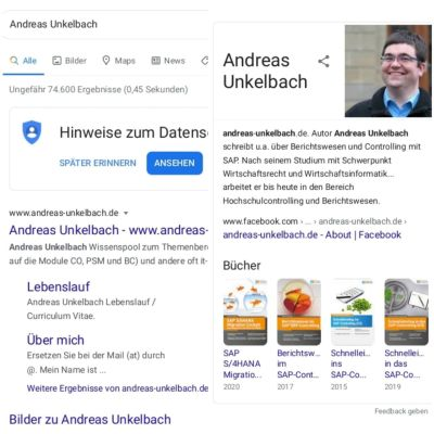 Google Knowledge Graph - Infobox zu Personen
