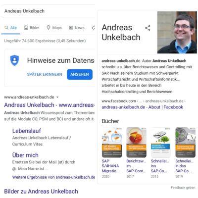 Google Suche nach Andreas Unkelbach