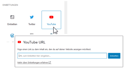 Youtube als Block in Wordpress einbidnen